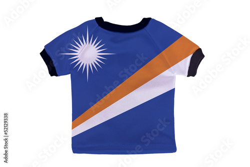 Small shirt with Marshall Islands flag isolated on white backgro