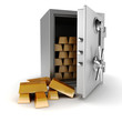 3d vault and gold bars on white background