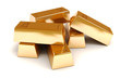 3d gold bars on white background