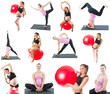 Collage of regnant fitness two women on yoga and pilates pose