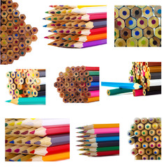 multicolored pencils collage