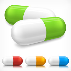 Capsule pills on white