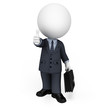 3d white people as business man