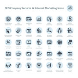 Set of SEO company service and Internet marketing icons