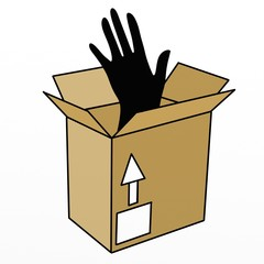 mano in scatola