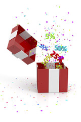 red gift box with discounts and stars