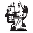 Building construction with workers in sIlhouette of head