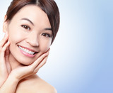 Smile Face of woman with health teeth - 52132749