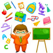 cartoon teacher and items related to school