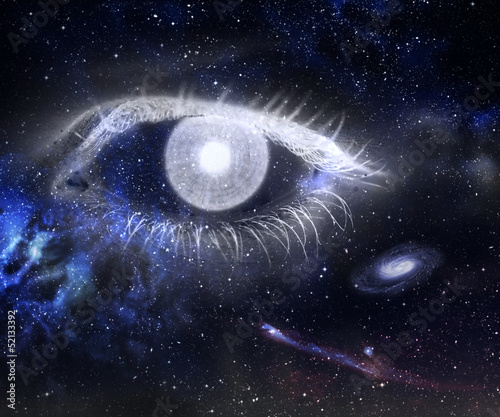 Human eye and Universe - concept photo.