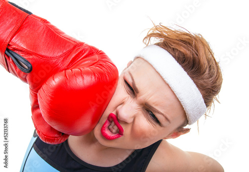 Funny fitness woman with boxing gloves