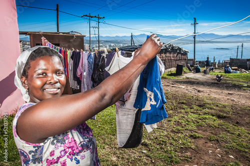 Woman busy with her family's laundry