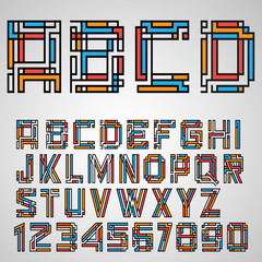 Alphabet letters and numbers in Mayan style
