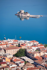 Aerial view of Bourtzi castle and city of Nafplio