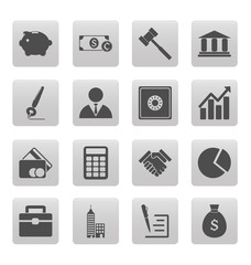 Business icons on gray squares