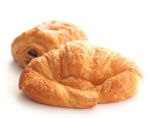 Croissant and chocolate croissant isolated on white background