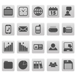 Gray business icons on gray squares