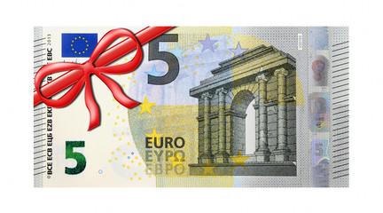5 Euro Gutschein mit roter Schleife links