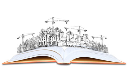 open book and building construction knowledge of  architecture