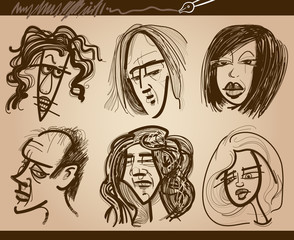people faces caricature drawings set
