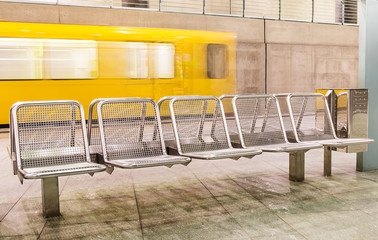 Yellow Train leaving the Subway Platform