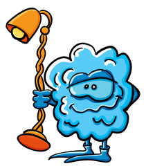 Funny cartoon cloud with lamp