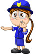 Girl traffic controller police character cartoon style vector