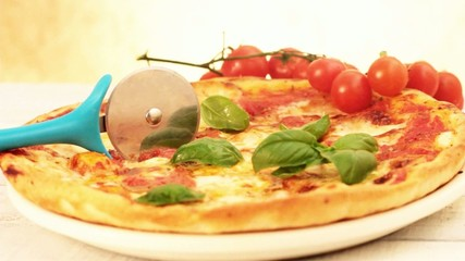 pizza margherita with basil