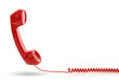 canvas print picture - Red telephone receiver