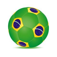 ballon football vert jaune avec drapeau brésilien