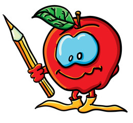 Funny cartoon apple with a pencil