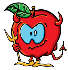 Funny cartoon apple is demon
