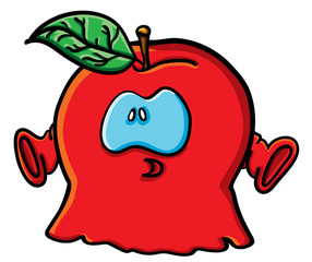 Funny cartoon apple is a ghost