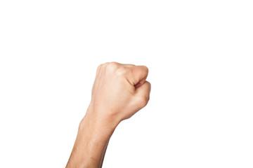 Hand zeigt Faust Zahl 0 freigestellt gerade