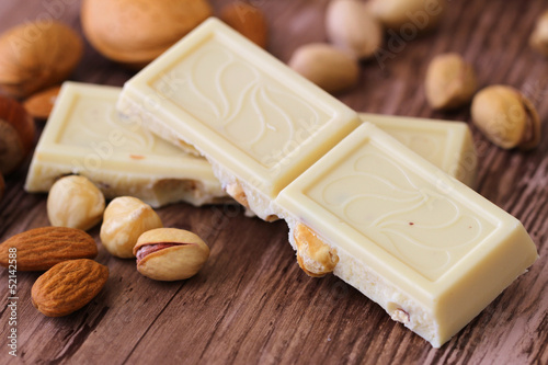 White chocolate with almonds and nuts