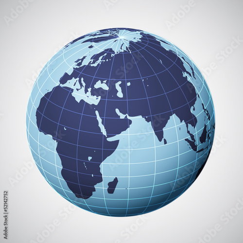 vector world globe in blue focused on europe