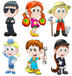 Children professions hobbies clipart cartoon style vector