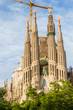 Famous Sagrada Familia cathedral facade in Barcelona, Spain.