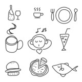 hand drawing food drink icon set
