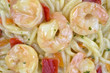 Close view of angel hair pasta with shrimp