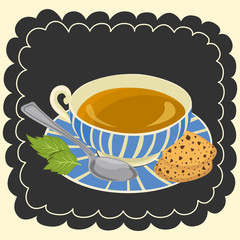 Cup of tea and cookie vector