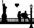 Couple in love where a guy plays guitar in New York silhouette