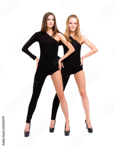 two sexy girls wearing leotard