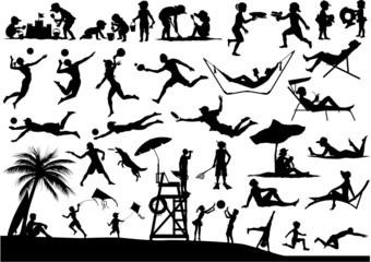 Beach people vector silhouettes