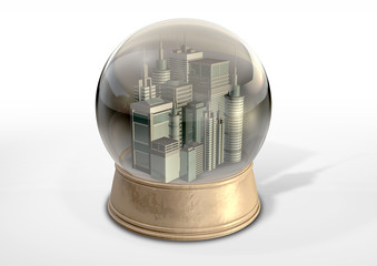 Polluted City Snow Globe
