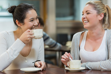 Two laughing students in college coffee shop