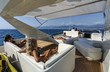 Italy, Tyrrhenian sea, 82' luxury yacht, flybridge