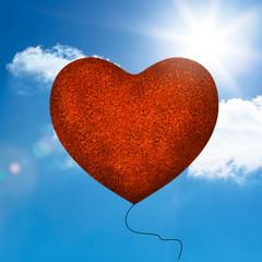 Red balloon heart shape