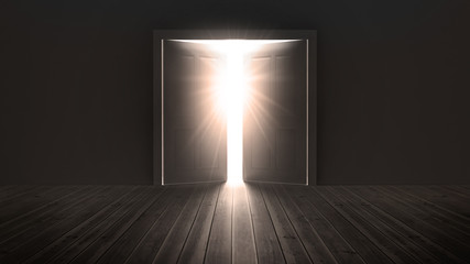 Doors opening to show a bright light