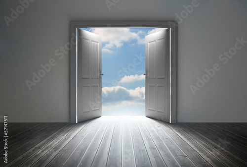 Doorway revealing bright blue sky
